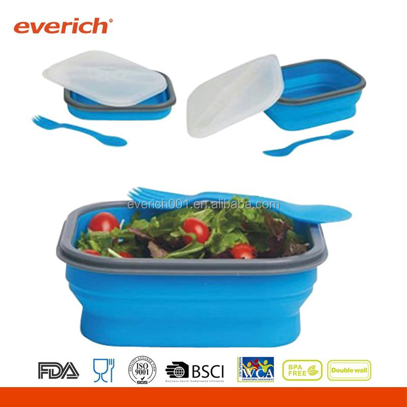 2015 Wholesale Promotional Food Grade Compartment Eco Silicone Collapsible Lunch Box