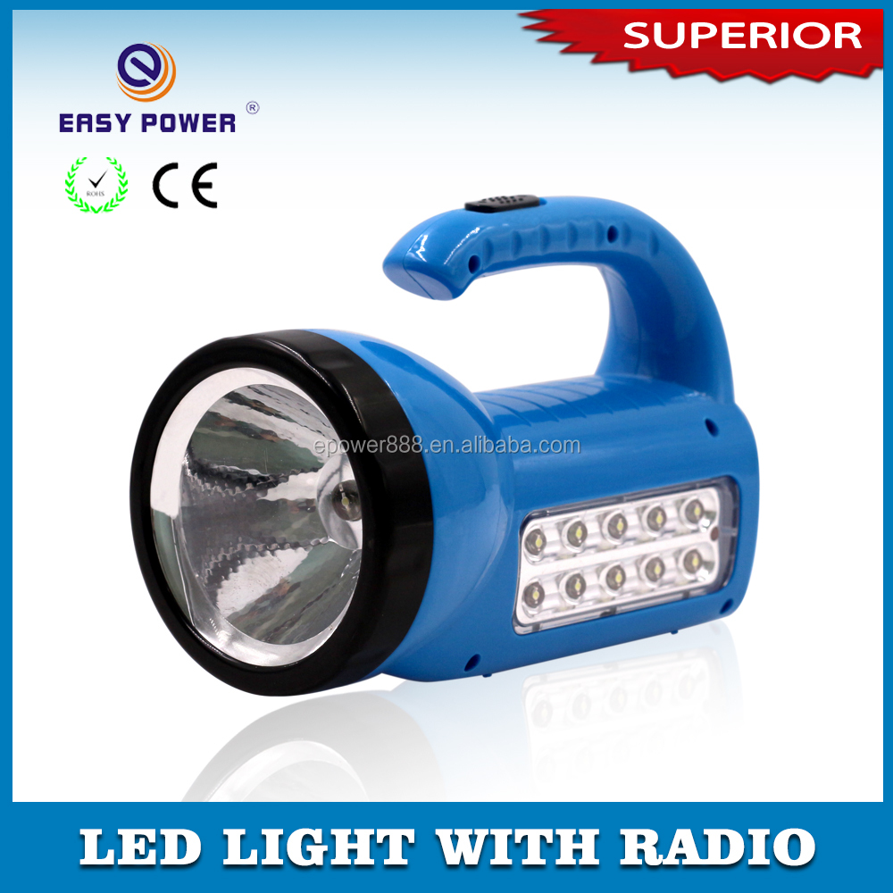 Made in China 3 in1 multifunction LED Emergency Rechargeable Torch Light With FM Radio