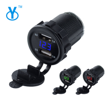New design rubber 12V Double USB Car Charger With Voltmeter Digital Intelligent mobile phone chargers LED USB Dual Car Charger