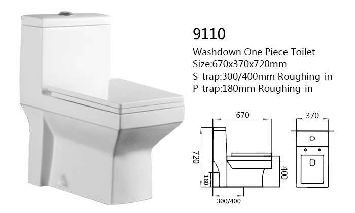 Ceramic washdown dual flush one piece compound toilet