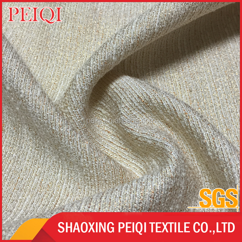 Popular slub yarn woven jacquard fabric cationic polyester fabric