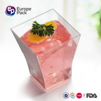 EPK Disposable Square Mini Cube Clear Tasting Plastic Dessert Cups