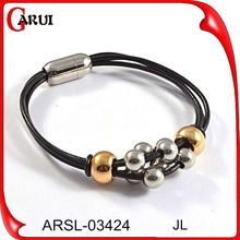 unique products to sell mens stainless steel bio magnetic bracelets leather and charms