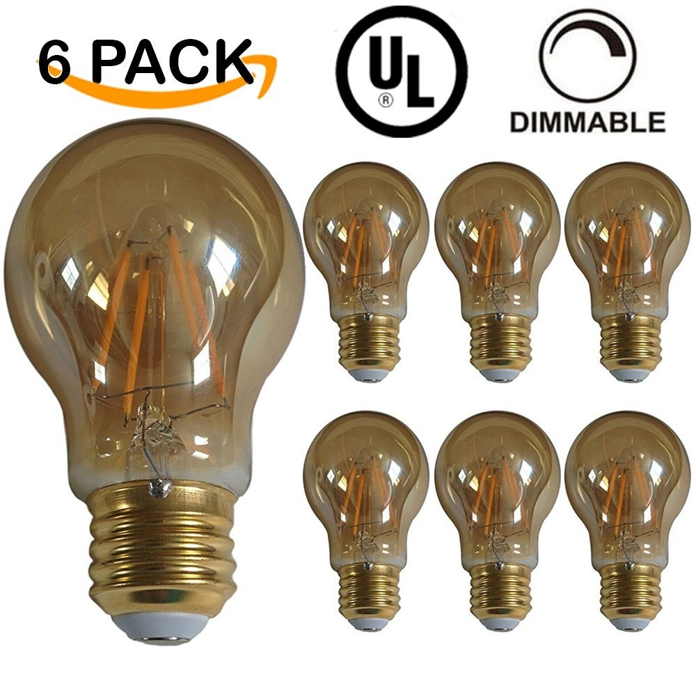 6 PACK - UL LISTED - LED A19 Edison Style Filament Light Bulb, 5W, DIMMABLE, 25W Equivalent, 2200K Warm White, 350 Lumens, 15,<strong>00</strong>