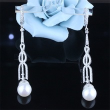 EHR0017 Hot New Fashion Jewelry White Sapphire & Pearl Gold Ear Cuff Clip on Earrings Hook 925 Sterling Silver