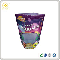 High quality back center sealed custom printed plastic frozen food packaging pouch bag with clear window