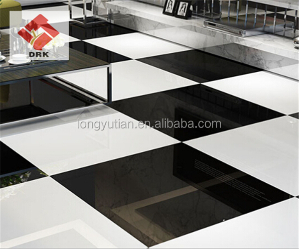 24x24 Black and White polished porcelain tile