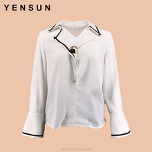 Ladies Sale Designer Elegant Summer Spring Chiffon Shirt Long Sleeves V-neck Woven Blouse