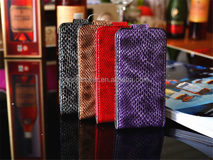 Genuine Leather Flip Case for iPhone 4/4S Snake Pattern