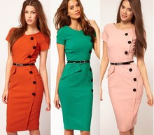 New Fashion OL Women Ladies Office Dress Clothes Knee-length Bodycon Slim Pencil Party Dress