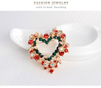 Vintage Crystal Diamond Green Heart Shape Christmas Brooch Colorful Bouquet Charm Brooch