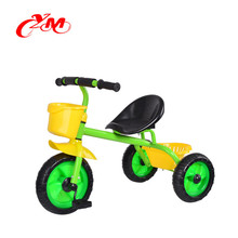 Green color chinese tricycle smart trike /simple children tricycle for toddlers /kids metal plastic tricycle with three wheels
