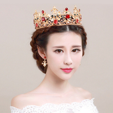 2017 Wedding crowns and tiaras Baroque crown Earrings Set bridal hair accessories for bride