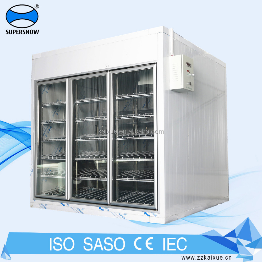 glass door back load cold storage room for beverage display
