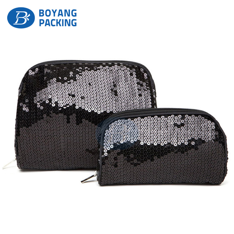 Hot sales new polyester cosmetic pouch sequin makeup bag
