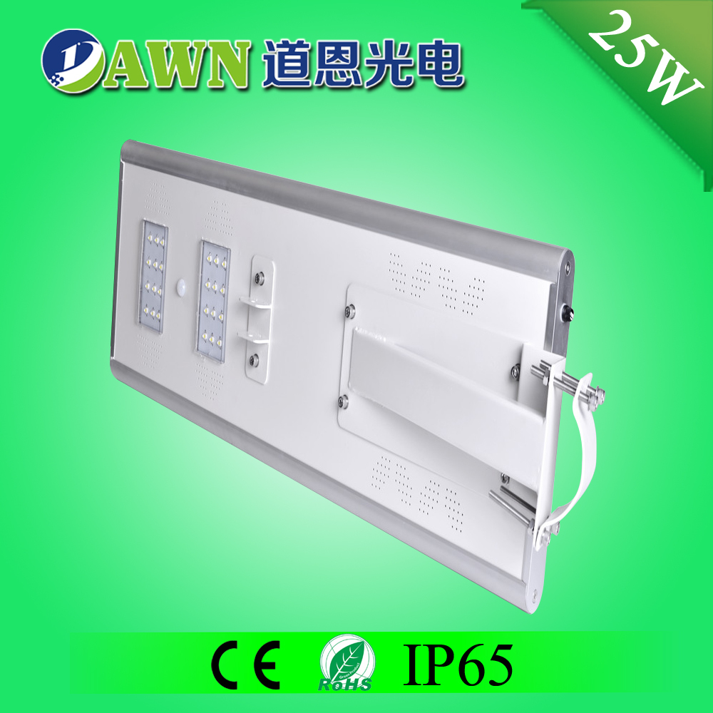 25W IP65 super bright integrated all in one all in one solar led street light jiaxing mica roofing