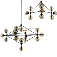 Modern amber glass black iron big chandelier for decoration
