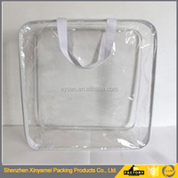 eco plastic waterproof transparent clear plastic PVC wire bag for quilt/blanket_bedding plastic packaging bag with handle