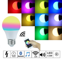 2017 New 4.5W Bright RGBW Wireless Bluetooth Smart LED Light Bulb
