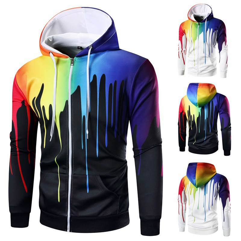 Low moq high quality Long Sleeve male Pullover Hooded hoodies Tops space cotton Style zipper Casual Sweatshirts
