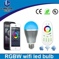 Langma mi light 2.4G 9W (RGB+warm white) Wifi E27 Led Bulb Dimmable/Brightness Adjustable lamp+4 Zone remote Free Shipping