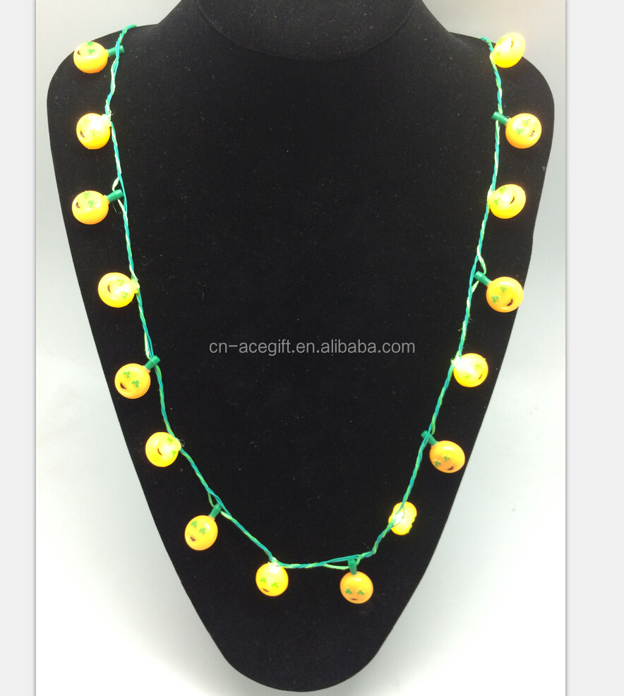 hot selling flashing Emoji valentine bead necklace, flashing shamrock necklace