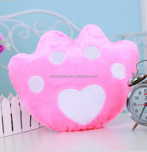 Romantic Gifts Luminous Star/Paw/Heart Shaped Glowing Pillow Led Cusion