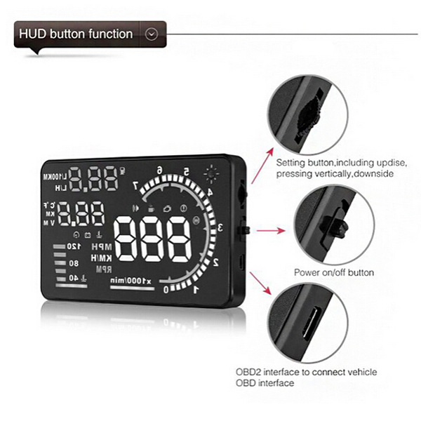 5.5inch Car HUD Head Up Display Adjustable LED Brightness Head Up Display Remote Control Time Display OBDII Interface