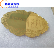 2018 Laser Cut Hollow Design Acrylic Gold Mirror Wedding Invitation Cards With Envelopes&Seals