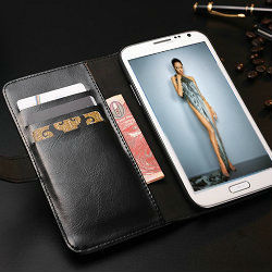 Multifunctional leather credit card case for samsung galaxy note 2,Crazy horse leather book cover for galaxy note2 n7100