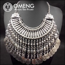 Fashion Coin Collar Fringe Chain Necklace Bohemian Silver Statement Handcraft Ethnic Necklaces