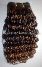 Elegant-wig 100% human hair silky yaki perm weave, brazilian deep curly ombre hair weave wholesale