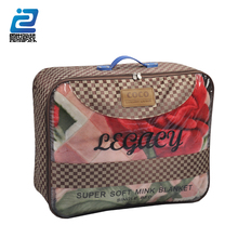 Handle pvc waterproof ziplock packaging bag for bed sheet