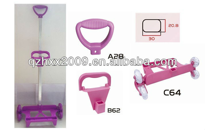 Pink plastic and metal handle for telescopic suitcase handle parts