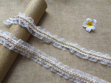 Elastic white lace gold Metal chain lace for apparel