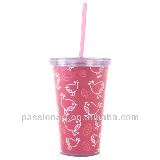 Double wall Insulated Plastic Cups with straws Gift for Kids