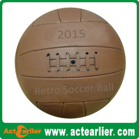 Vintage leather antique retro soccer ball with custom logo