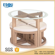 Modern Design Glass MDF 4 Seater Dining Table Sets for Small Spaces