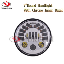 wholesale 7inch Round 75W Hi/Lo LED Driving Light Headlights Insert with DRL & Turn Signal & Halo Ring Angle Eyes