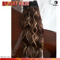 Aliexpress human hair vanilla curl long 5pcs piano color cheap prices hair extansion for young woman fashion choice