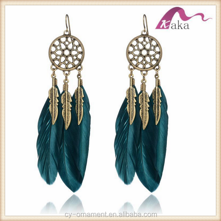 2017 Fashion Colorful New antique bronze Alloy Feather Earring Stud Earring for party