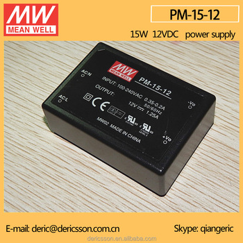 Mean Well 15W 12V AC/DC Module On Board Type Power Supply Medical Type Encapsulated Type PM-15-12