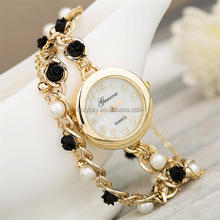 fashion vogue watch leather band lady watch pearl beads lady bracelet watch