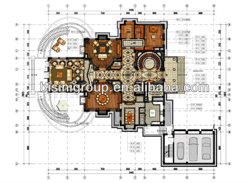 3D luxury modern house plans, interior designs(B06-100011)
