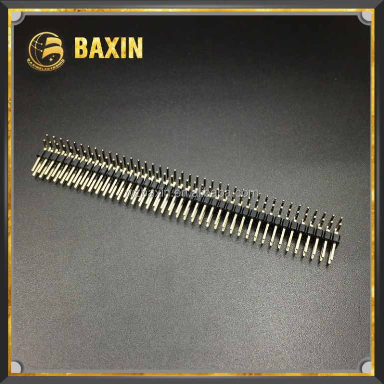 Male double row right angle 80pins female 2.54mm pin header TJC8-40WA