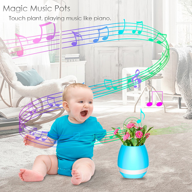 Music Flower Pot Bluetooth Wireless Speaker Night Light USB Charger Smart Round Cute Plant Pots Blue Pink White Blue Indoor