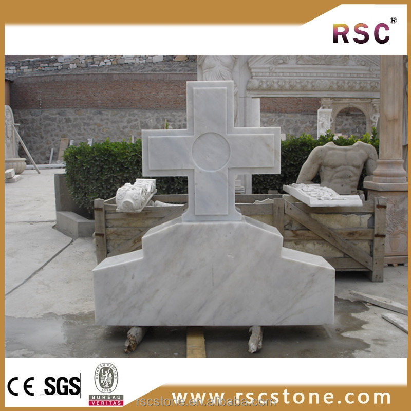 Cross white rough granite headstone