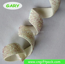 White Glitter Stretch Velvet Elastic Ribbon
