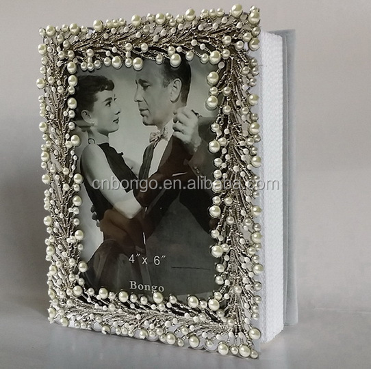jewelled metal cover photo album with 40 pages PVC paper