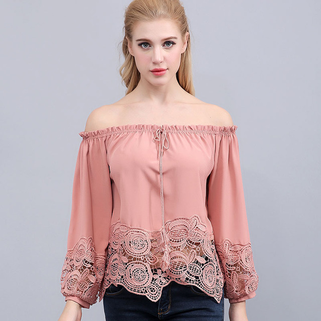 Latest samples bavarian pink blouse women Long sleeve lace party blusas off shoulder tops